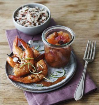 Recette de brochettes de crevettes, chutney ananas