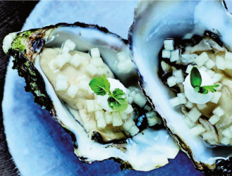 Recette d'huître creuse tartare de poires et Raifort
